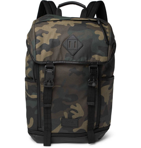 91428fc95e9 Polo Ralph Lauren Camouflage-Print Leather-Trimmed Cotton-Canvas Backpack  In Green