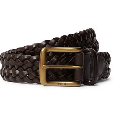 Polo Ralph Lauren 3cm Dark-Brown Woven Leather Belt
