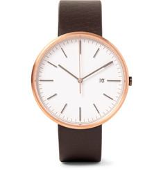 Uniform Wares M40 Rose Gold PVD-Plated Stainless Steel and Leather Watch