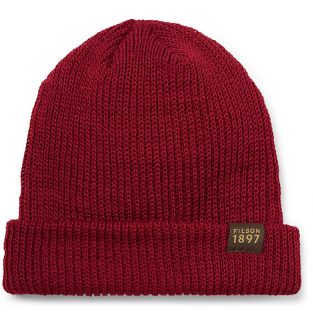 Ribbed Virgin Wool Beanie - Claret