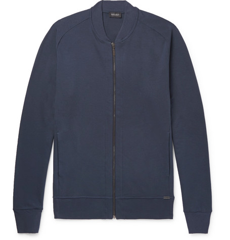 Cotton-jersey Bomber Jacket - Navy