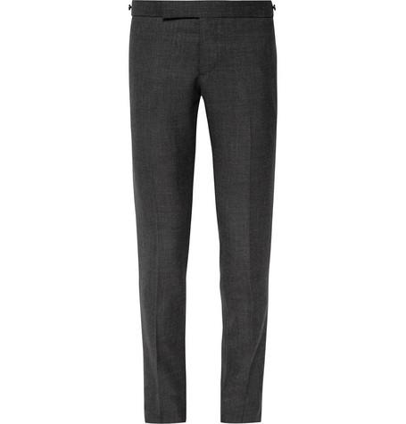 Thom Browne Charcoal Slim-fit Wool Trousers