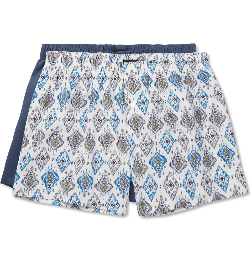 Two-pack Cotton-poplin Boxer Shorts - Blue