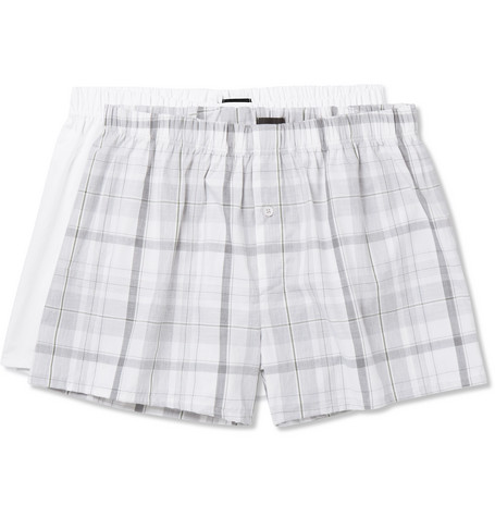 Hanro Two-pack Cotton-poplin Boxer Shorts - White