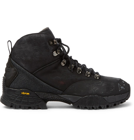 ROA ANDREAS RUBBER-TRIMMED DISTRESSED NUBUCK HIKING BOOTS