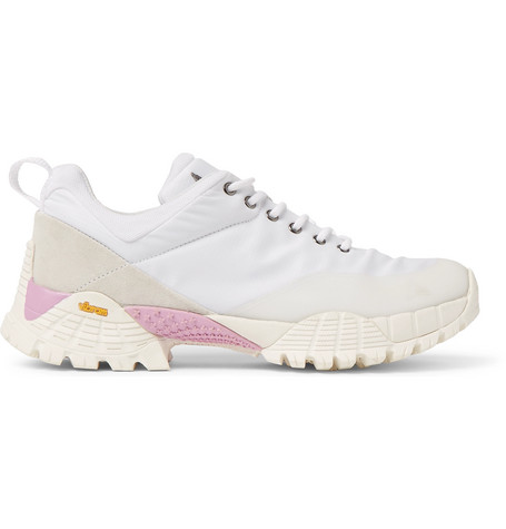 Roa OBLIQUE RIPPY MESH-TRIMMED SUEDE AND RIPSTOP SNEAKERS - WHITE