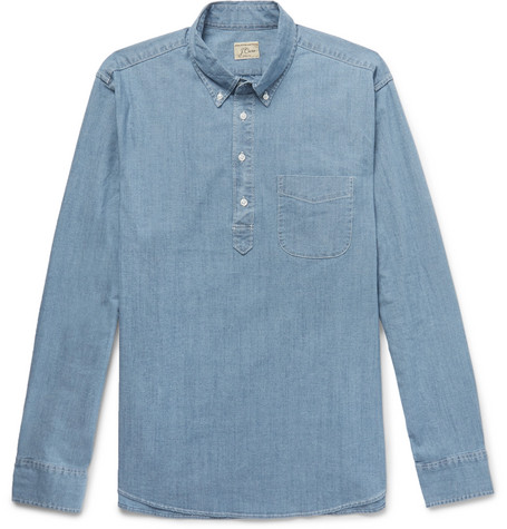 Button-down Collar Stretch-cotton Chambray Half-placket Shirt J.crew Cheap Sale Looking For jXZlkCjo