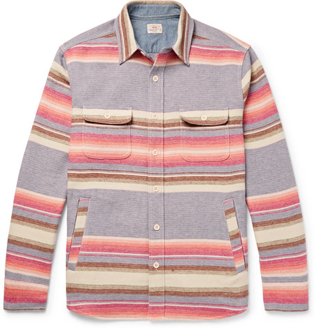 Faherty Striped Brushed Cotton Shirt In Purple
