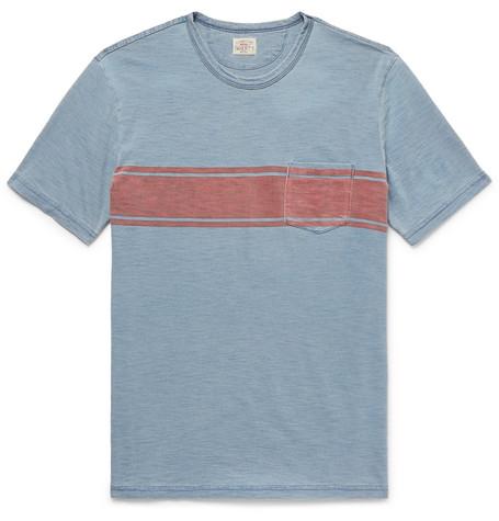 Faherty Striped Slub Cotton-jersey T-shirt - Blue B2fopSJGkA