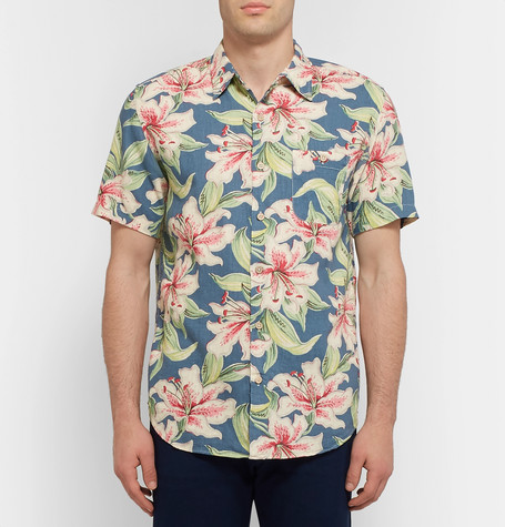 Floral Print Linen Blend Shirt by Faherty