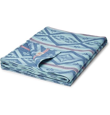 Adirondack Brushed-Cotton Jacquard Blanket, Blue