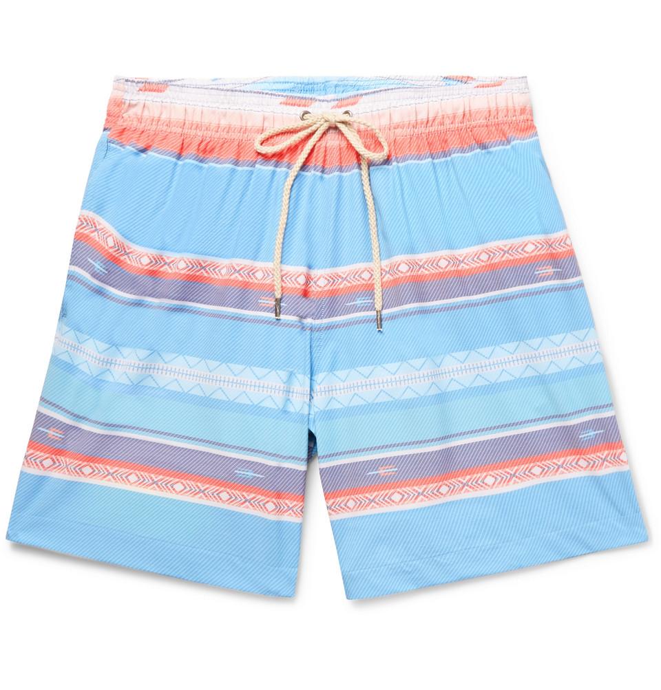 Beacon Mid-length Printed Swim Shorts - Blue
