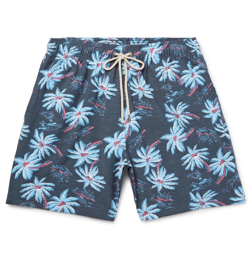 Beacon Mid-length Printed Swim Shorts - Storm blue