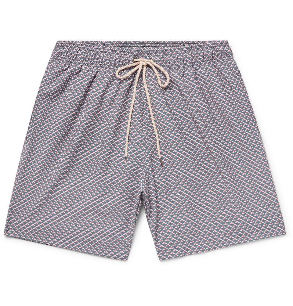 Beacon Mid-length Printed Swim Shorts - Navy