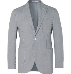Holiday Boileau Navy Slim-Fit Unstructured Striped Cotton-Twill Blazer