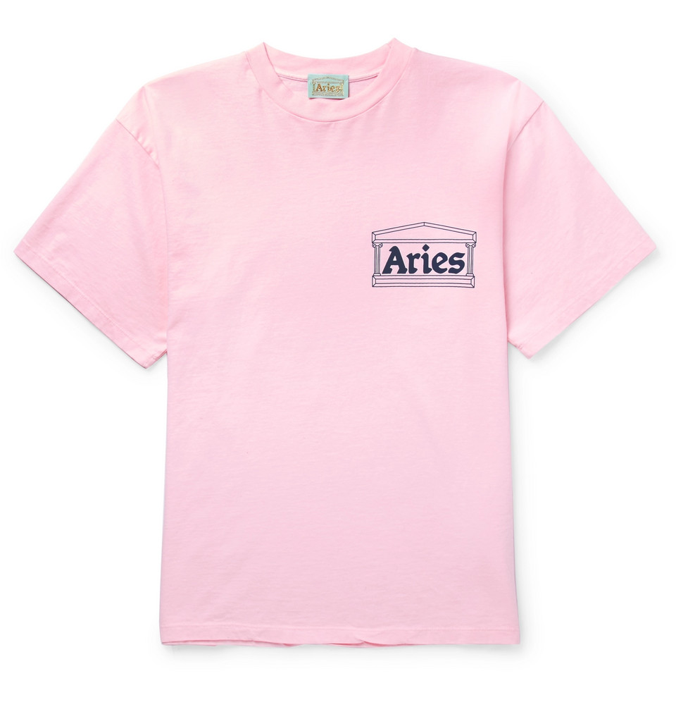 Printed Cotton-jersey T-shirt - Pink