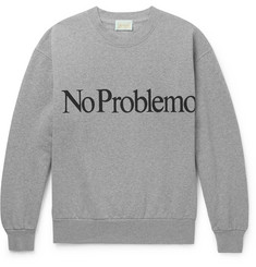 Aries No Problemo Printed Fleece-Back Cotton-Jersey Sweatshirt