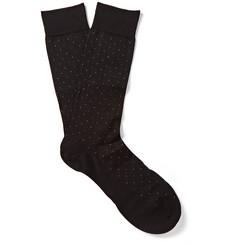 Pantherella Pin-Dot Cotton-Blend Lisle Socks
