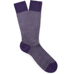 Pantherella Fabian Herringbone Cotton-Blend Socks