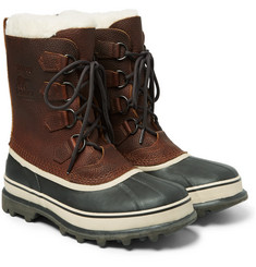 Sorel - Caribou Faux Shearling-Trimmed Waterproof Leather and Rubber Snow Boots