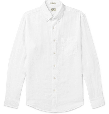 J.Crew Slim-fit Button-down Collar Linen Shirt - White