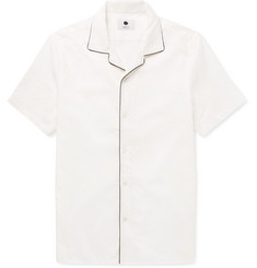 NN07 Miyaki Camp-Collar Piped Cotton-Jacquard Shirt