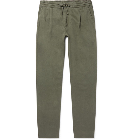 Domenico Tapered Twill Drawstring Trousers - Army green