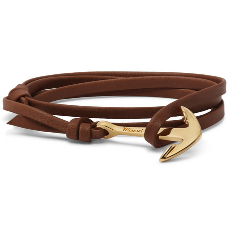 Miansai Anchor Leather And Gold-plated Wrap Bracelet In Brown