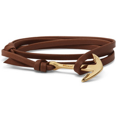 Miansai - Anchor Gold-Plated Leather Wrap Bracelet