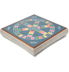 Linley - Leather and Wood Stacking Games Compendium - Scrabble and Trivial Pursuit