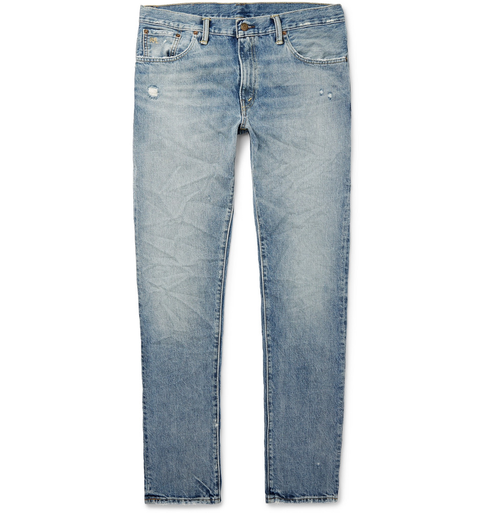 Slim-fit Distressed Denim Jeans - Light denim
