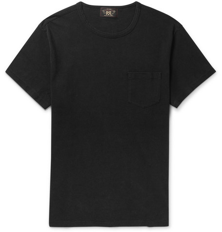 Indigo-dyed Cotton-jersey T-shirt - Black