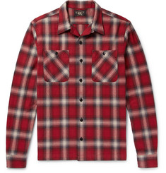 RRL Camp-Collar Checked Brushed-Cotton Shirt