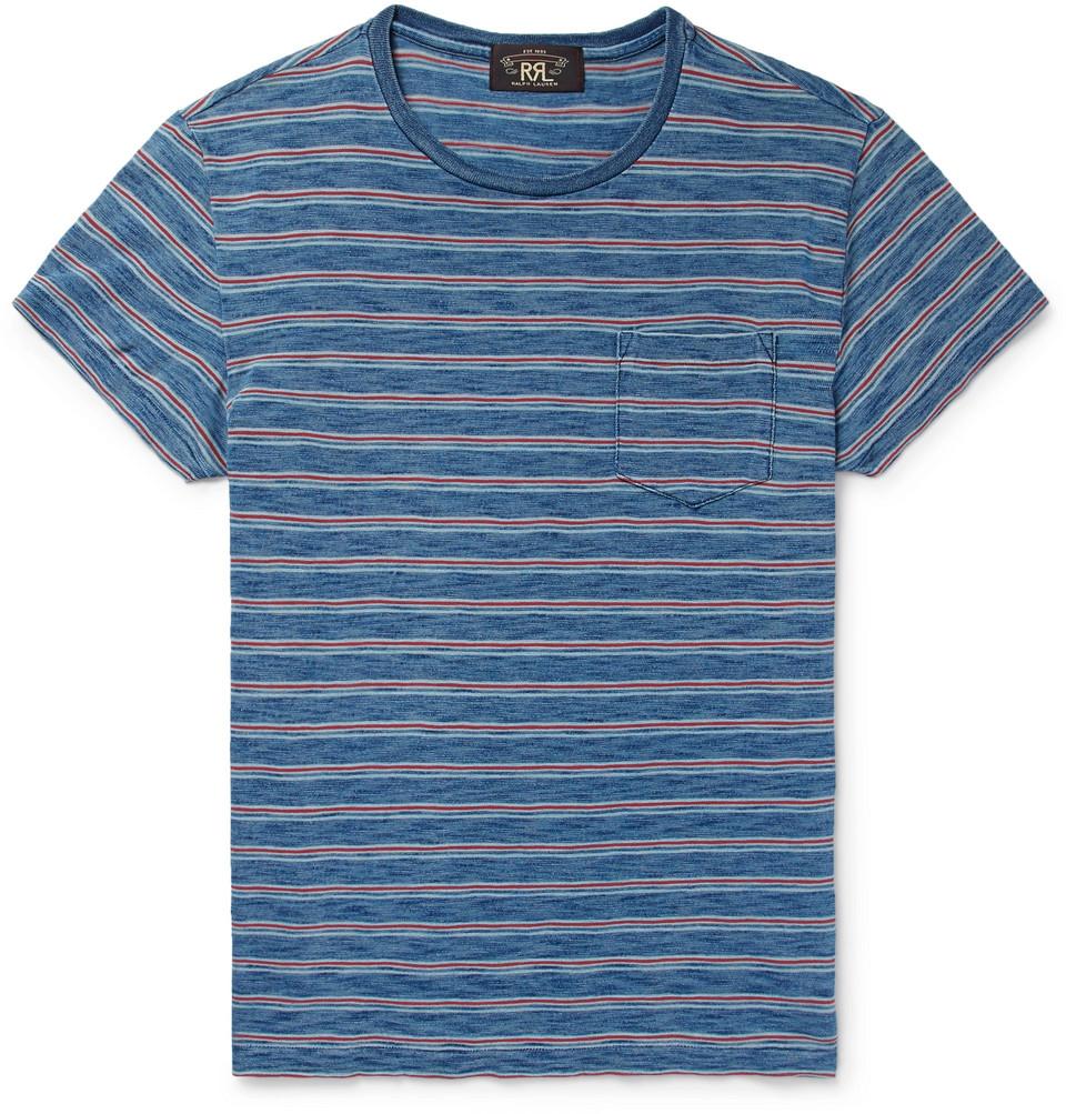 Slim-fit Indigo-dyed Striped Cotton-jersey T-shirt - Indigo