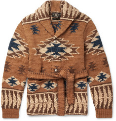 RRL - Ranch Shawl Collar Intarsia Linen-Blend Cardigan