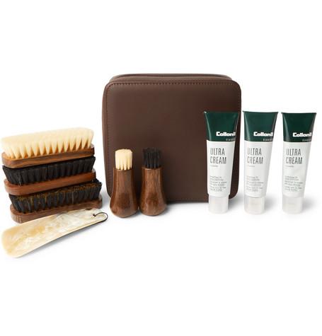 LORENZI MILANO Travel Shoe Care Set with Leather Case