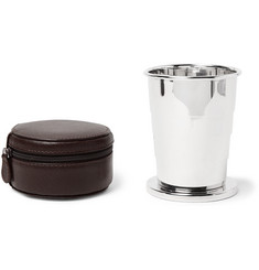 Lorenzi Milano - Silver-Tone Collapsible Cup with Cross-Grain Leather Case