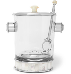 Lorenzi Milano - Glass, Silver-Tone and Mother-of-Pearl Ice Bucket and Tongs