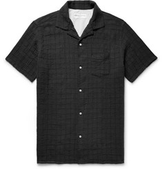 Officine Generale Dario Camp-Collar Checked Textured Cotton-Blend Shirt
