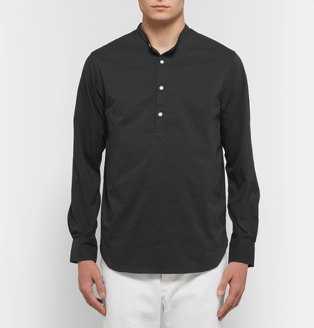 Auguste Slim Fit Grandad Collar Seersucker Shirt by Officine Generale