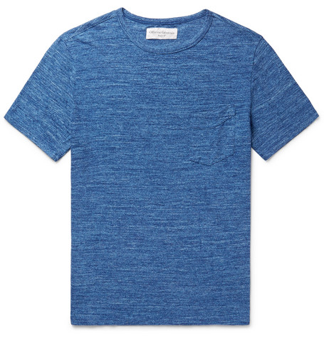OFFICINE GENERALE Mélange Cotton-jersey T-shirt - Blue M4JLKjCkm