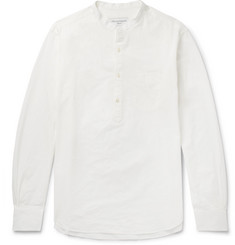 Officine Generale Olivier Grandad-Collar Cotton-Dobby Half-Placket Shirt
