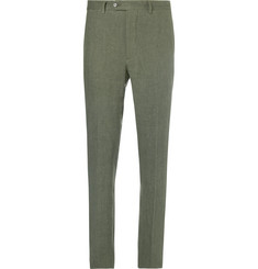 Officine Generale Olive Paul Slim-Fit Herringbone Linen-Blend Suit Trousers