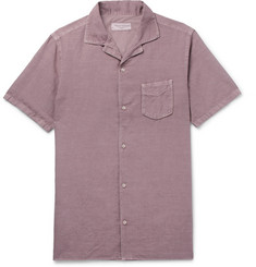 Officine Generale Dario Camp-Collar Cotton and Linen-Blend Shirt