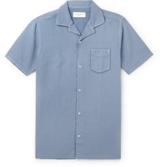 Officine Generale Dario Camp-Collar Piped Cotton and Linen-Blend Shirt