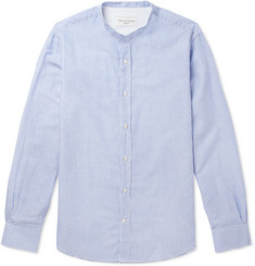 Officine Generale Gaspard Grandad-Collar Striped Cotton and Linen-Blend Shirt
