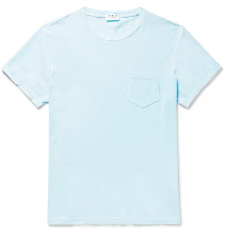 Frame Cotton-jersey T-shirt In Light Blue