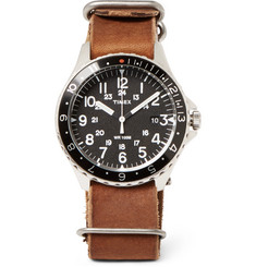 Timex - Navi Ocean Stainless Steel and Stonewashed-Leather Watch