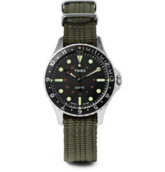 Timex - Navi Harbor Stainless Steel and Webbing Watch Gift Set
