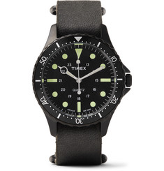 Timex - Navi Harbor Stainless Steel and Stonewashed Leather Watch